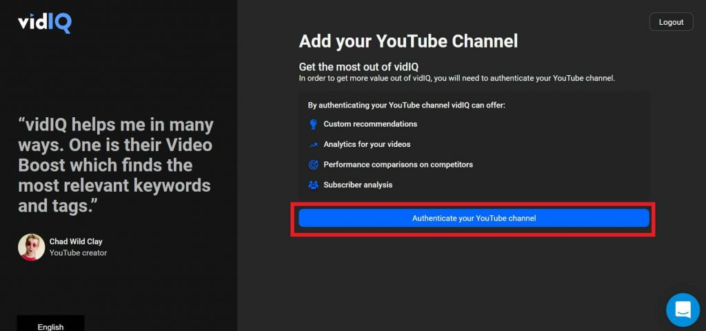authenticate youtube channel with VidIQ