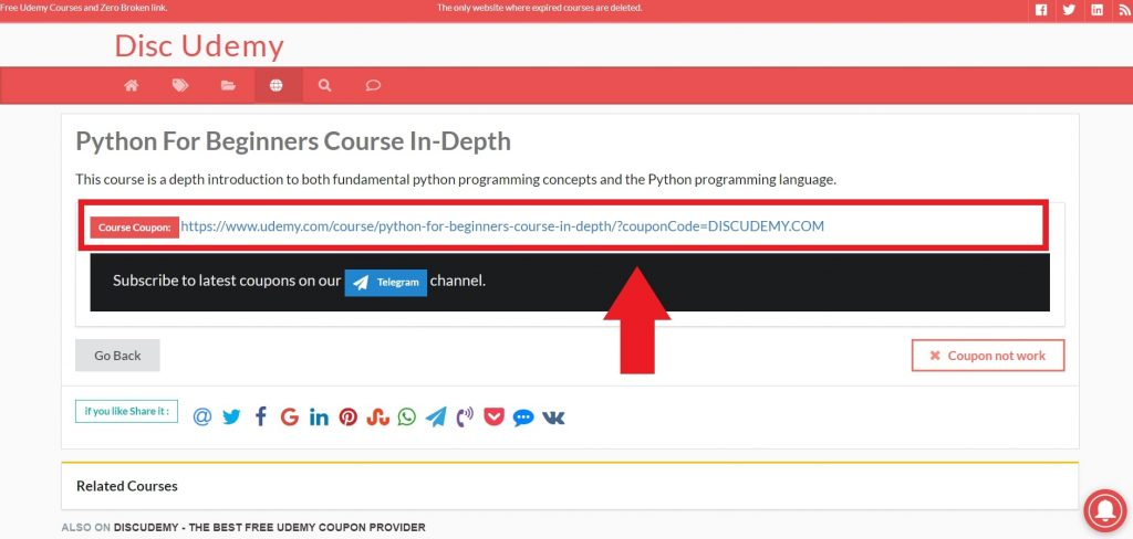 coupon to get udemy courses for free